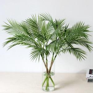 Image 1 - 90 センチメートルグリーン人工ヤシの葉プラスチック植物ガーデンホーム装飾コガネバナ熱帯木フェイク植物