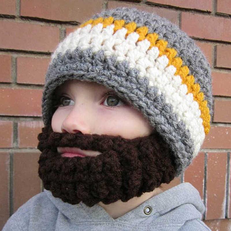 501c887845e36 Crochet Boys Beard Beanie Toddler Boys Funny Beard Hat Handmade Cotton Beard  Hat 0-6
