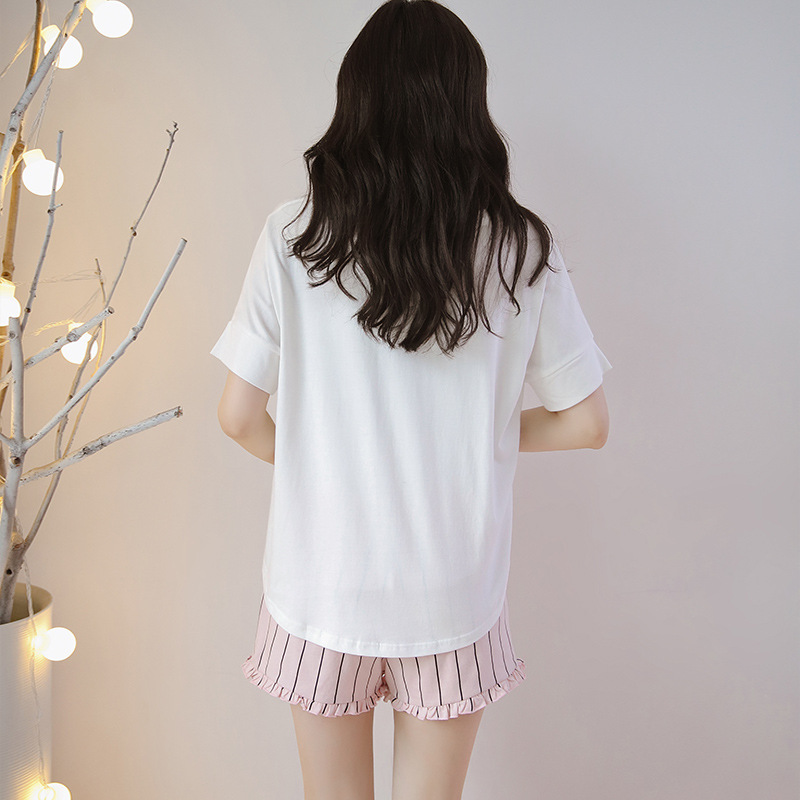 2019 Cotton Pajama Sets For Women Flamingos Short Sleeved Shorts Home Suit Summer Nightly Recommended Female Home Clothing in Pajama Sets from Underwear Sleepwears