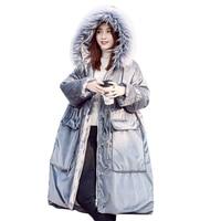 Зимнее плотное пальто Модные женские туфли теплый бархат хлопковая куртка енота меховой воротник парка капюшон высокое качество негабарит