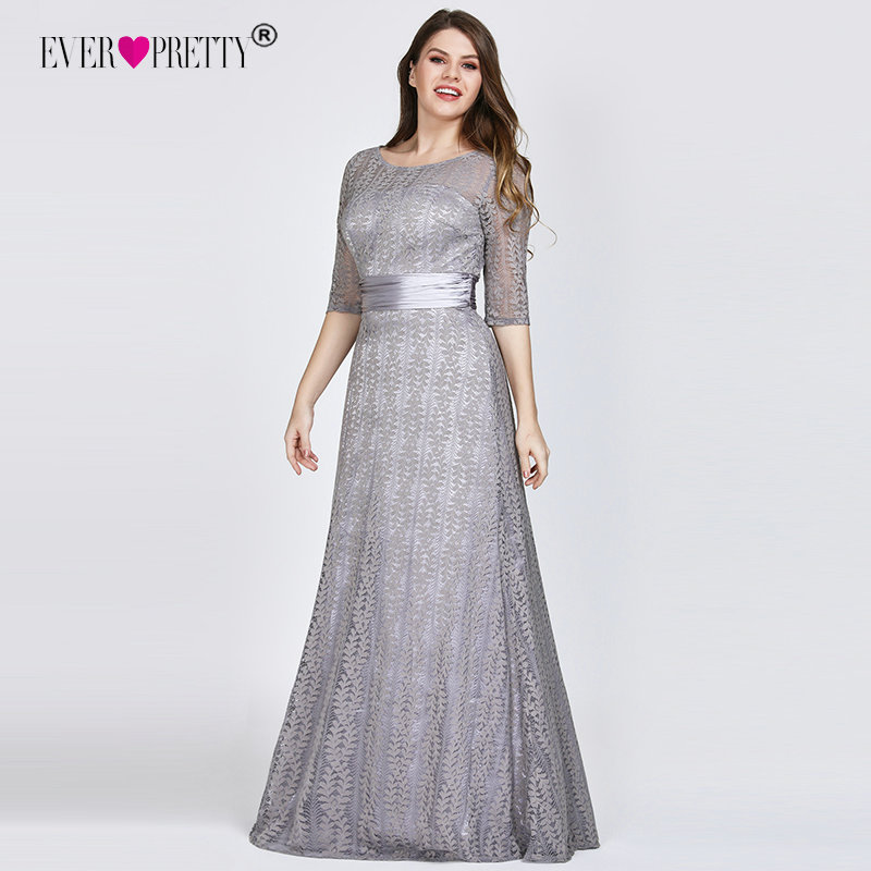 Plus Size   Prom     Dresses   2019 Ever Pretty Sexy A-line Lace Half Sleeve Grey Formal Party Gowns Winter Long Vestidos