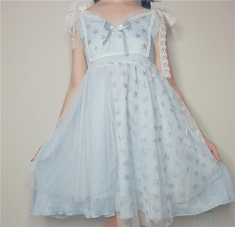 Women's Dress Cute Fairy Lace Layered Mesh Yarn Stars Shinning Bow Knot Ribbon Sweet Girls Style Fantasy