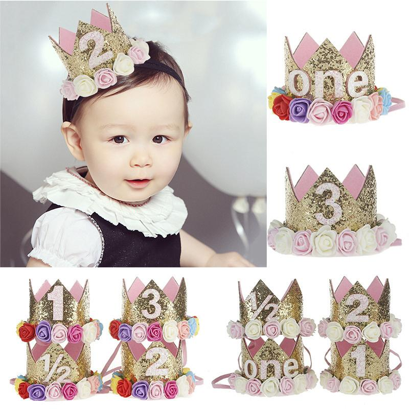 Baby First Birthday Decor Flower Party Cap Crown Headband 1 2 3 Year Number Priness Style Birthday Hat Infant Festival Headband