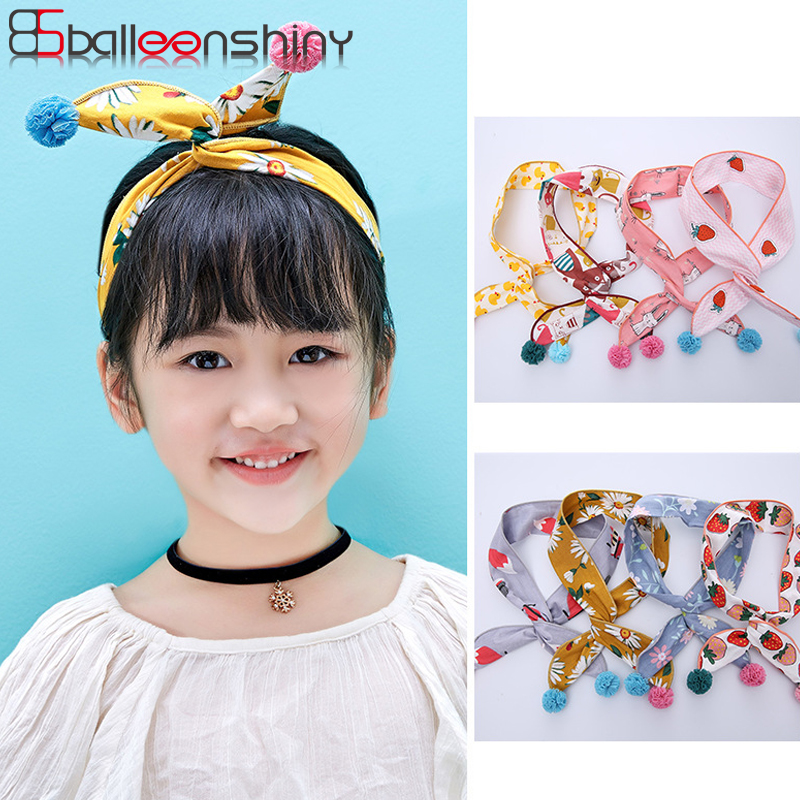 BalleenShiny Rabbit Ear Headband Baby Girls New Style Plush Ball Bow Tie Cute Beauty Headdress Flower Print Hair Accessories