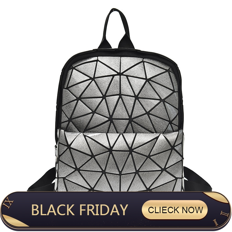 2018 New Bao Luminous Backpacks Female Fashion Girl Daily Backpack Geometry Package Sequins Folding Bags School Bags 50% OFF Backpacks Luggage & Bags