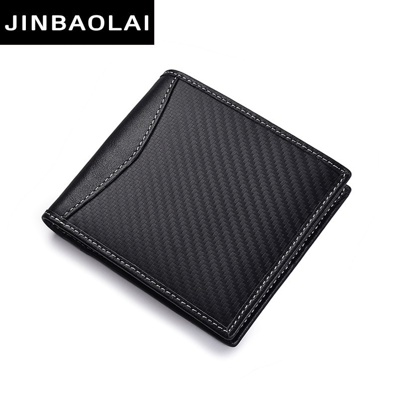 цена на Slim Wallet Front Pocket Minimalist Wallet Bifold Genuine Leather RFID Blocking Wallet Carbon Fiber 3D Special Waterproof Wallet