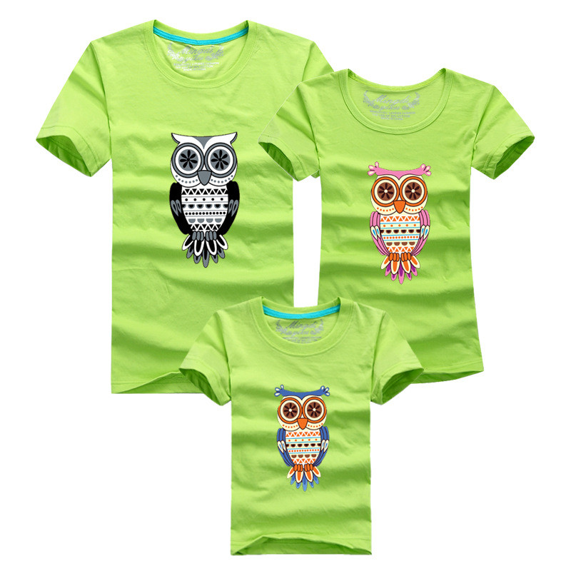 1 Piece Summer Matching Family Look Sets Cartoon Cute owl Monther Father Baby T-shirts Short Sleeve Tops Cotton Clothes