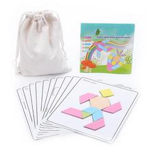 купить One Bag Wooden Jigsaw Puzzle Board Toys Set Colorful Tangram Educational Games for Kids Children Early Learning Developing дешево