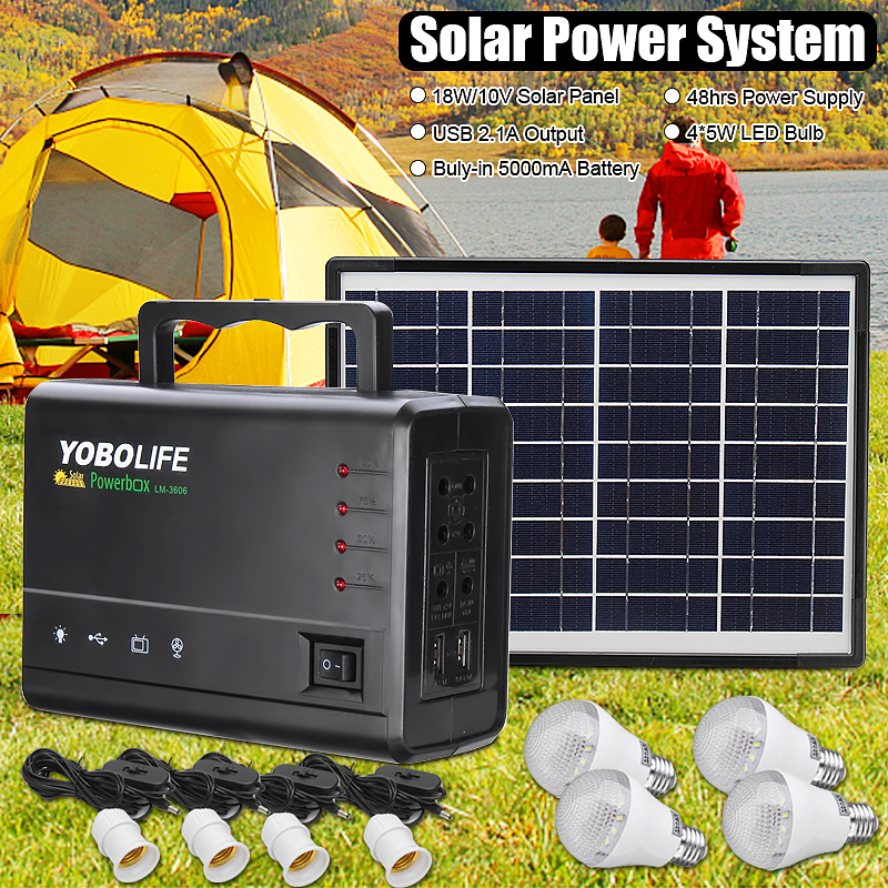 LED Light USB Charger 18W Solar Panel Power Storage Generator Home System Kit Rechargeable Sealed Lead acid Battery ABS+PC 10V