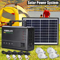 LED Light USB Charger 18W Solar Panel Power Storage Generator Home System Kit Rechargeable Sealed Lead-acid Battery ABS+PC 10V