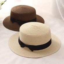 2019 Summer Parent-child Beach Hat Female Casual Panama Lady Brand Women Flat brim Bowknot Straw cap glris Sun