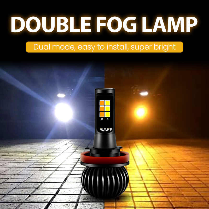 Zarpooz 2pcs/Set Yellow And Bule Fog Led Light H1 H3 H4 H7 H8 H10 H27 HB4 X5 Car LED Two Color Fog Light Universal Car Led Bulb