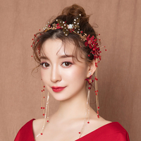 Gold Color Butterfly Headband Hair Accessories for Wedding Bridal Headpiece Red Fabric Flower Hairband Photography Headwear