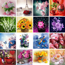 5D diy diamond embroidery mosaic pattern flower picture home decor gift round diamond painting cross stitch Kits(China)