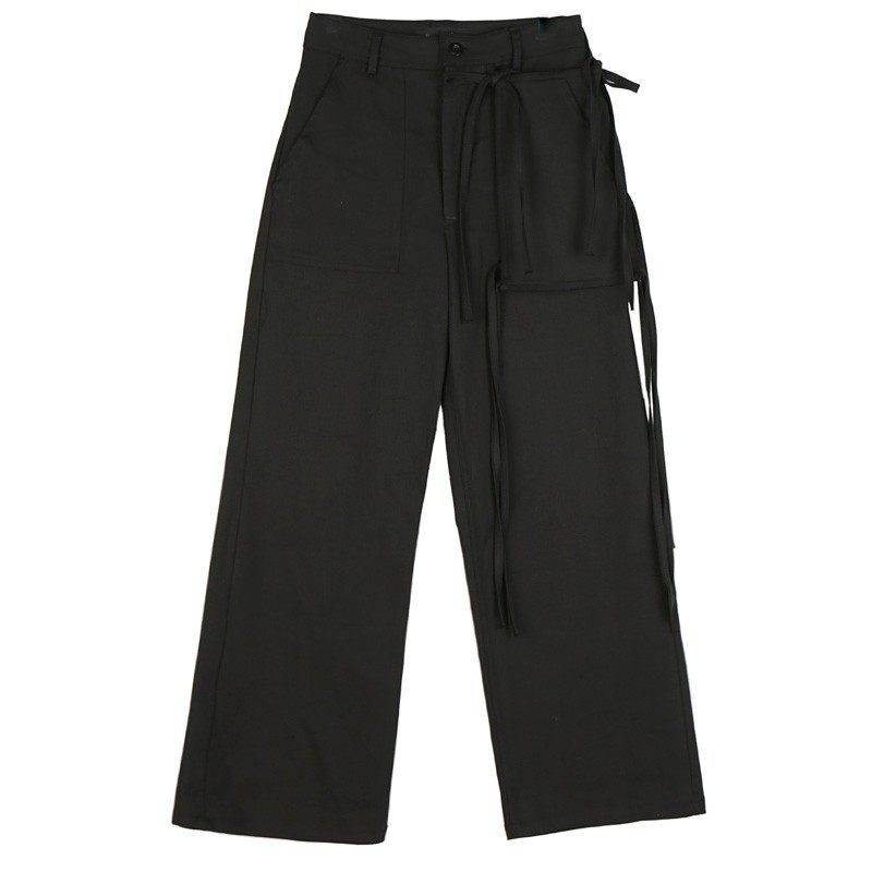 c692cd9fb177 Tasca Femminile Cargo In Alta Donne Casual Up Pizzo Dei A 2018 Autunno  Larghi Vestiti Pants Black Di Con Modo Q935 Piedino Del Pantaloni Vita 76n5q