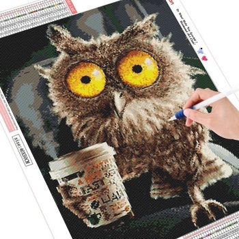 HUACAN Full Square Diamond Painting Owl 5D Diamond Embroidery Animals Picture Of Rhinestone DIY Diamond