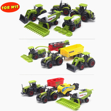 цена на 5pcs/set, Die-cast Metal Agricultural Vehicles Combination Model with Plastic Parts, Farm Car Tractor Trailers Collector Edition