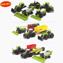 5pcs/set, Die-cast Metal Agricultural Vehicles Combination Model with Plastic Parts, Farm Car Tractor Trailers Collector Edition(China)