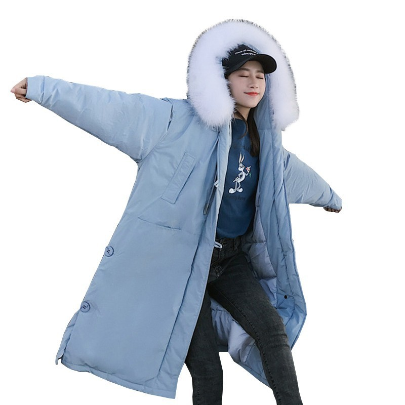 White Big Fur Collar Winter Jacket Coat Women Fashion Blue Long Section Large Size Loose Down Cotton Jacket Warm Padded Parka