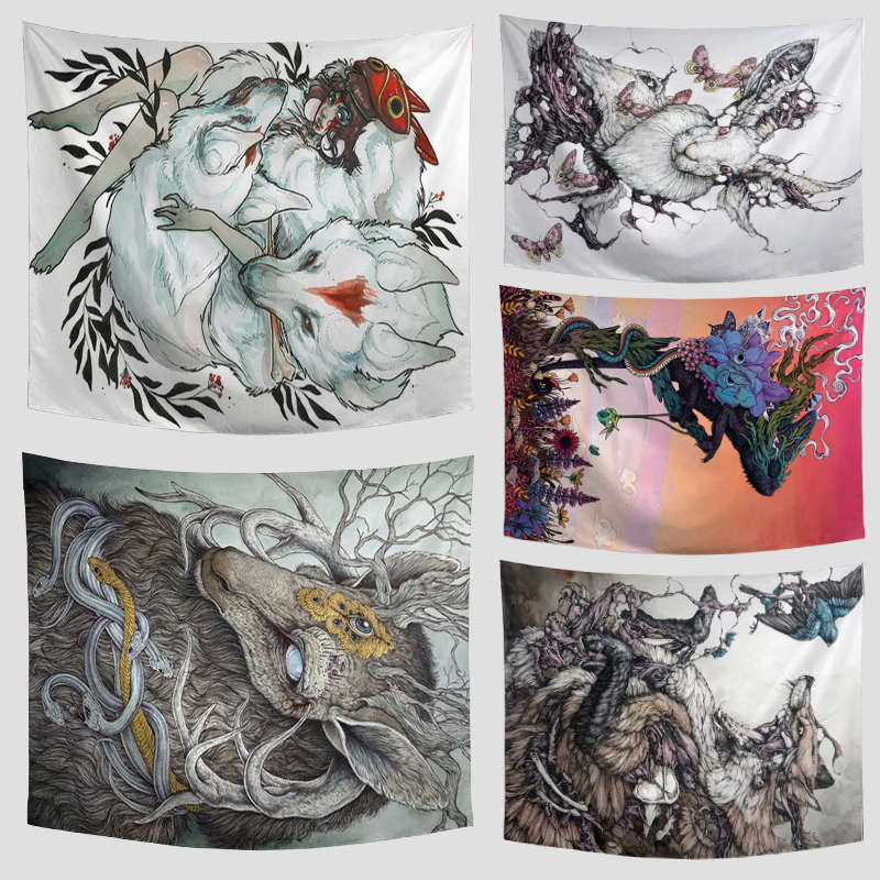 Ancient Century Orc Tribal Game Unicorn Print Tapestry Rabbit Deer Owl Fox Wolf Bird Home Wall Bedclothes Tablecloth Decoration(China)