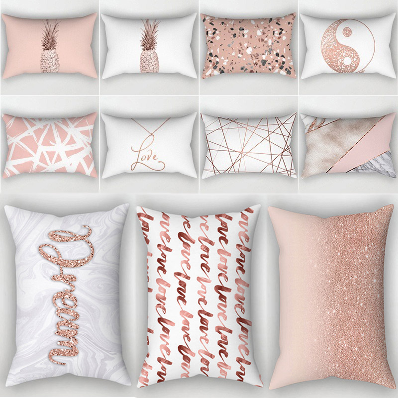 Geometric Home Textile For  High Quality Rose Golden Pink Hot Sale 1PC  Decorative 30x50cm Pillow Covers