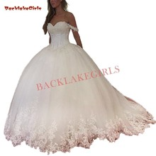 Custom Made Ball Gown Fluffy Cap Sleeve Wedding Dresses