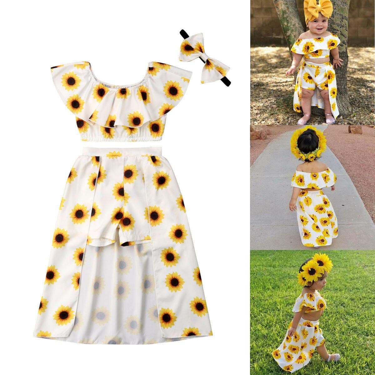 USA Summer Kids Baby Girl Sunflower Crop Tops Shorts Dress 3PCS Outfits Sunsuit