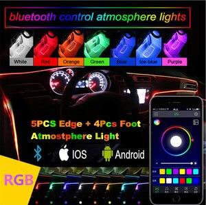 Image 4 - Светодиодные атмосферные лампы RGB 12 В с автомобильным интерьером, лента из оптического волокна 6 м, напольсветильник освесветильник для салона, управление через приложение для телефона