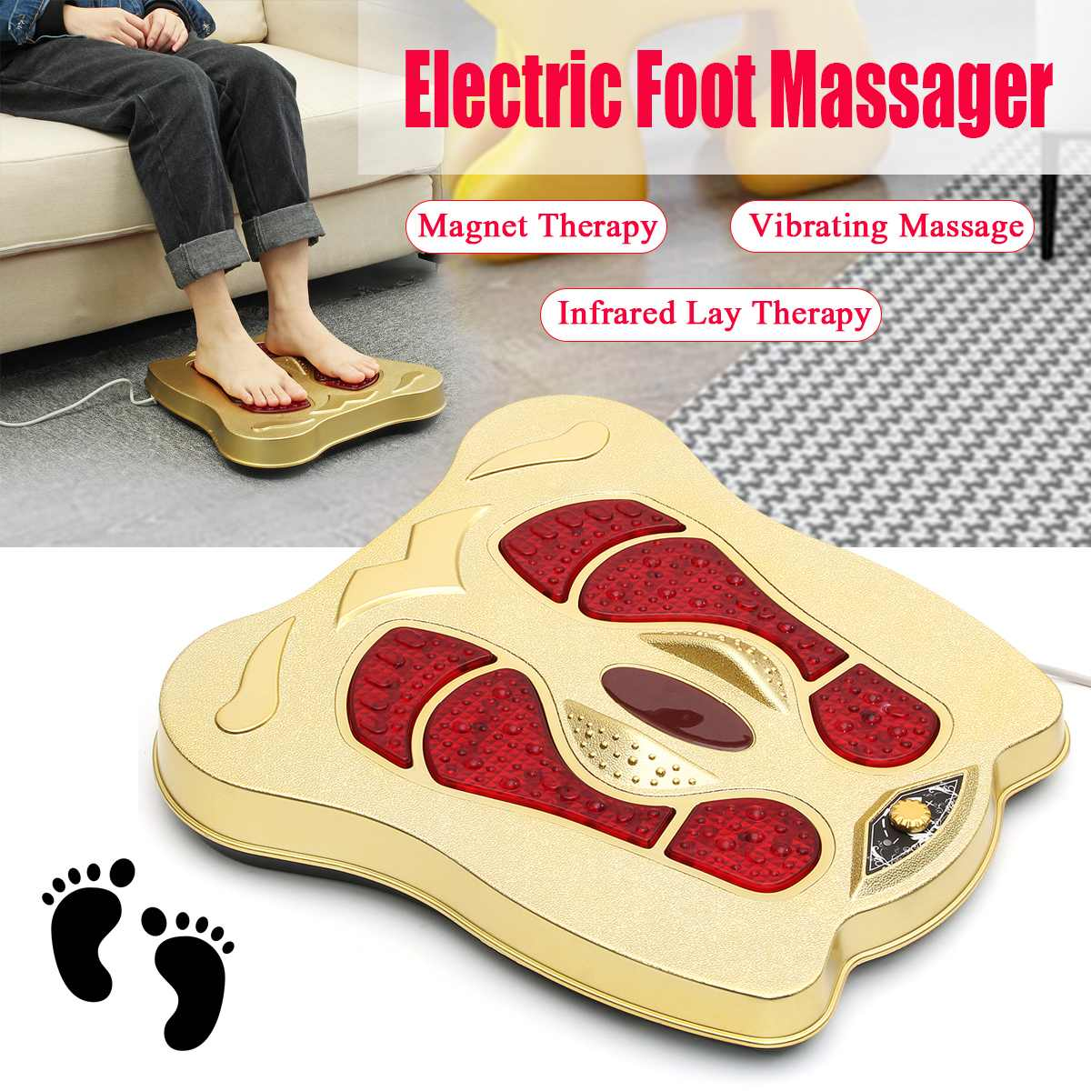 Vibration In Foot >> Us 32 37 36 Off Home Foot Massager 220v Shiatsu Circulation Vibration Blood Booster Infrared Electromagnetic Foot Massager Electric Machine Gift In