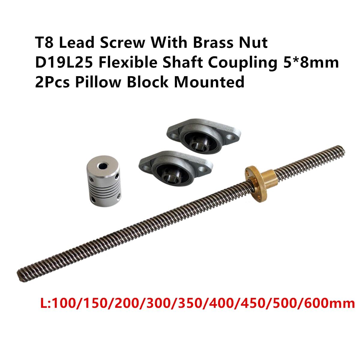 T8 Lead Screw Set 8mm Length 100/300/500/600mm & Brass Nut + D19L25 Flexible Shaft Coupling 5*8mm + 2Pcs Pillow Block MountedT8 Lead Screw Set 8mm Length 100/300/500/600mm & Brass Nut + D19L25 Flexible Shaft Coupling 5*8mm + 2Pcs Pillow Block Mounted