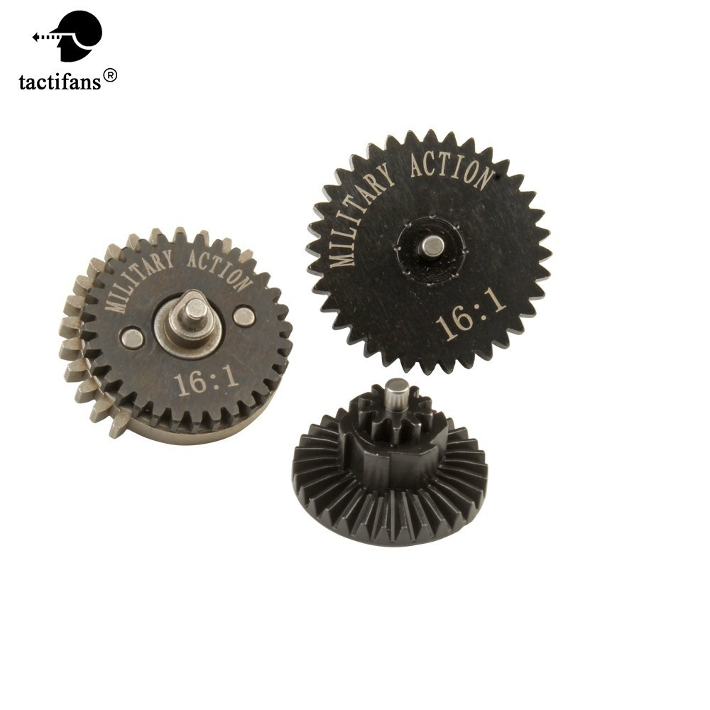 Drive Ratio 16:1 High Speed Bevel Spur Sector Gears Set For Ver.2 / 3 AEG Airsoft Gearbox Hunting Paintball Army Accessories