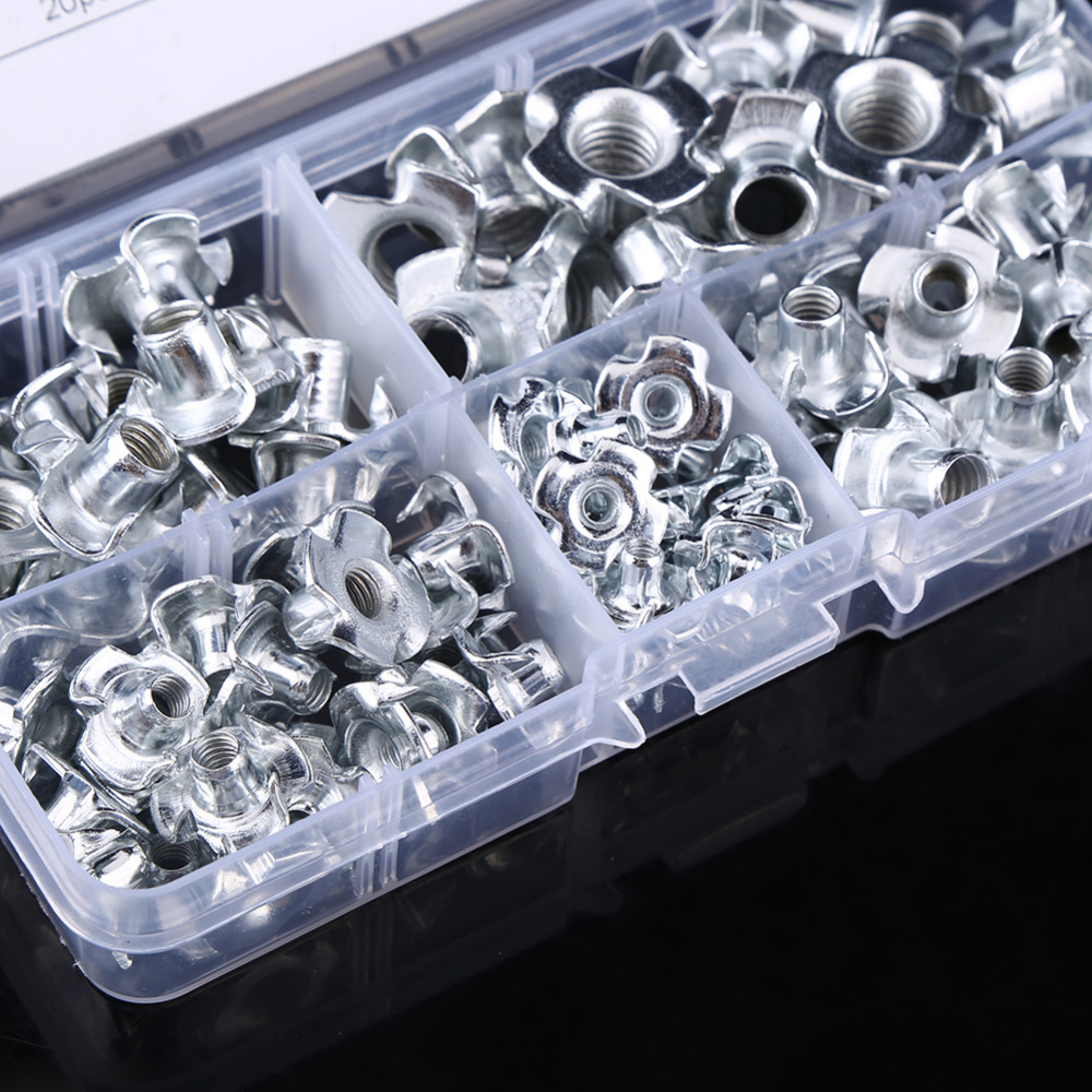 Captive T Nut Sturdy Durable 100pcs Carbon Steel M36 Four Pronged T Nuts Blind Inserts Nut for Wood Furniture