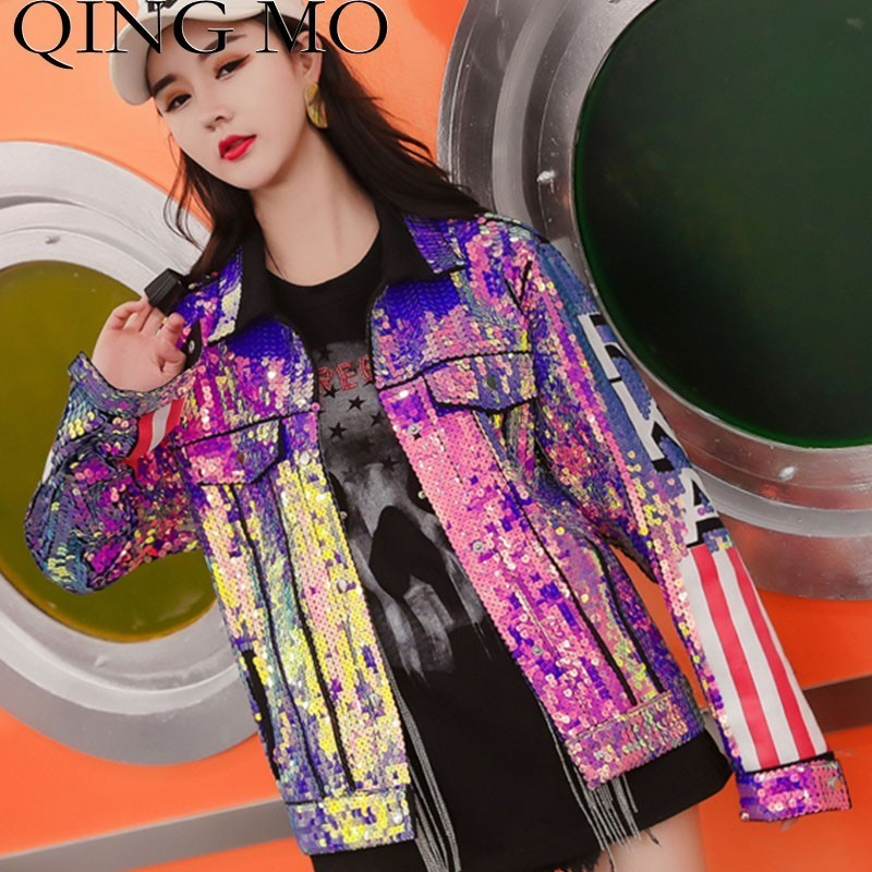 QING MO Pink Sequin   Jacket   Women Patchwork   Basic     Jacket   US Flag   Jacket   Spring Long Sleeve Coat Streetwear ZLDM064