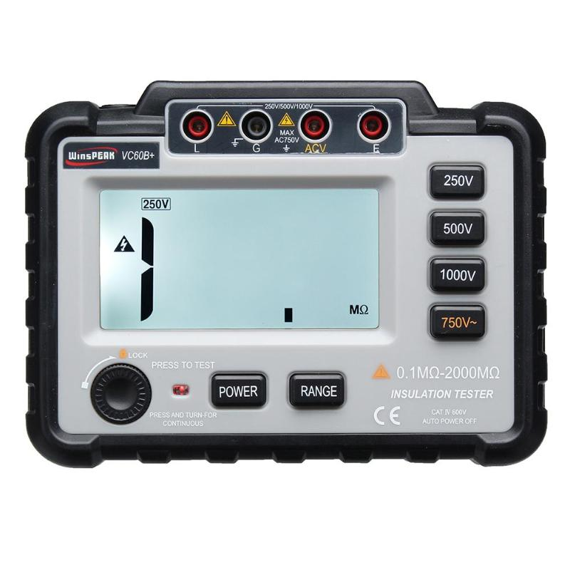 LCD Backlight VC60B Digital Insulation Resistance Tester MegOhm Multimeter High Precision English Panel