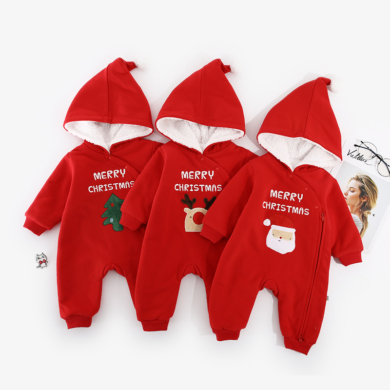 все цены на Baby Christmas costume clothes winter baby cotton romper red Christmas tree elk romper with hooded baby clothing