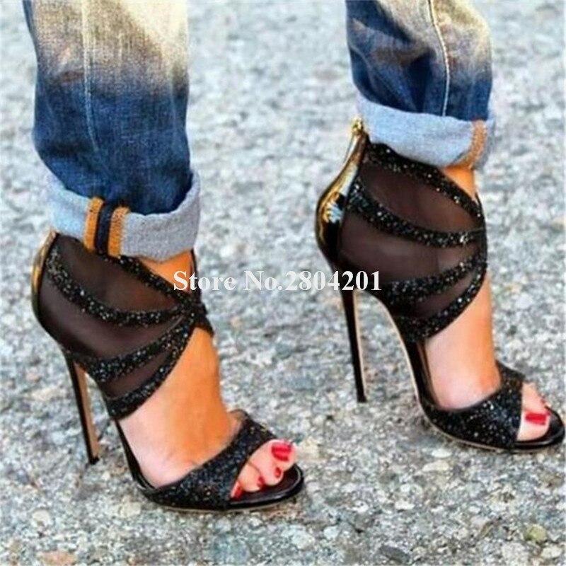 Marque Design femmes mode Peep Toe Bling Bling paillettes talon aiguille mince sandales cheville Wrap noir or sandales à talons hauts