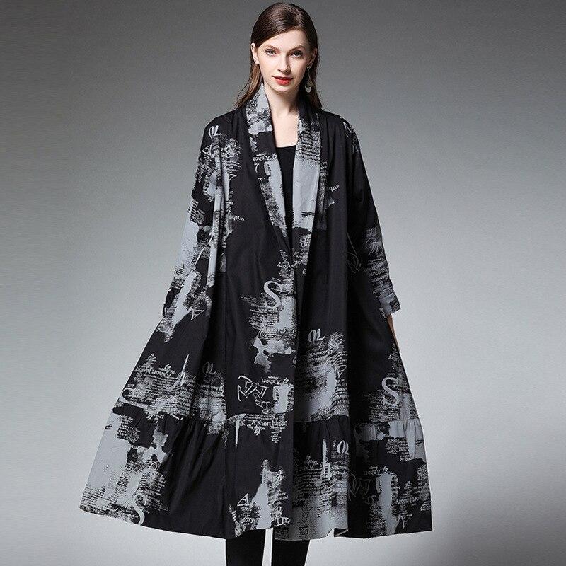 Type Femme Personnalité Cardigan Grande Chemise Long Impression Taille Nouvelle Robe Lanmrem Yg50901 Black 2019 Manches Mode De Longues À Printemps 4wqASwxBzg