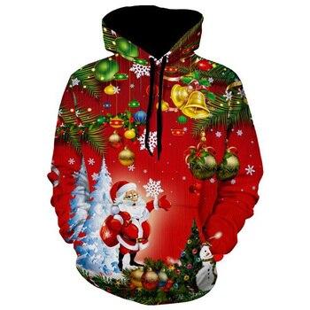 Men Winter Warm Long Sleeve Santa Christmas Tree Jingle Bells Christmas Hoodie hoodie