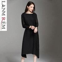 LANMREM 2019 New Fashion Pleated Clothing Female's Long Sleeve Bandage Waist O neck Black Gray Irregulras Dress Vestido YF498