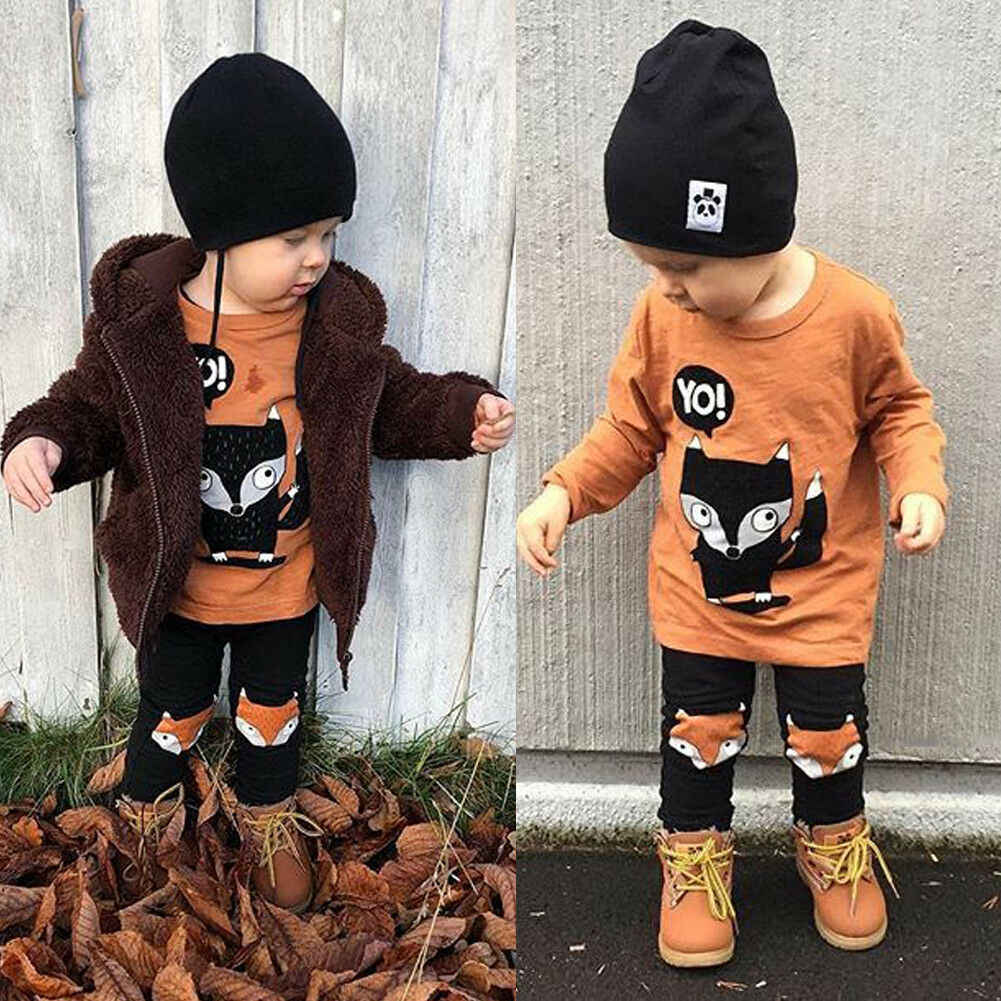Pudcoco Boy Set Toddler Kids Baby Boy Tops T-shirt Long Pants 2Pcs Outfit Set Clothes 12M-4Years