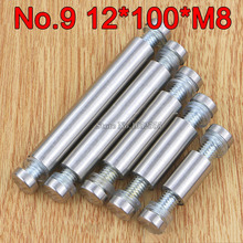 200PCS 12mm*100mm*M8 Stainless Steel Double Head Hollow Standoffs Pin Nail Screw Acrylic Advertisement Fixing Screws Glass Nails