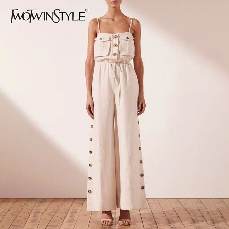 TWOTWINSTYLE Strap Off Shoulder Sexy   Jumpsuit   Women High Waist Button Big Size Wide Leg Pants Female Fashion New Tide 2019