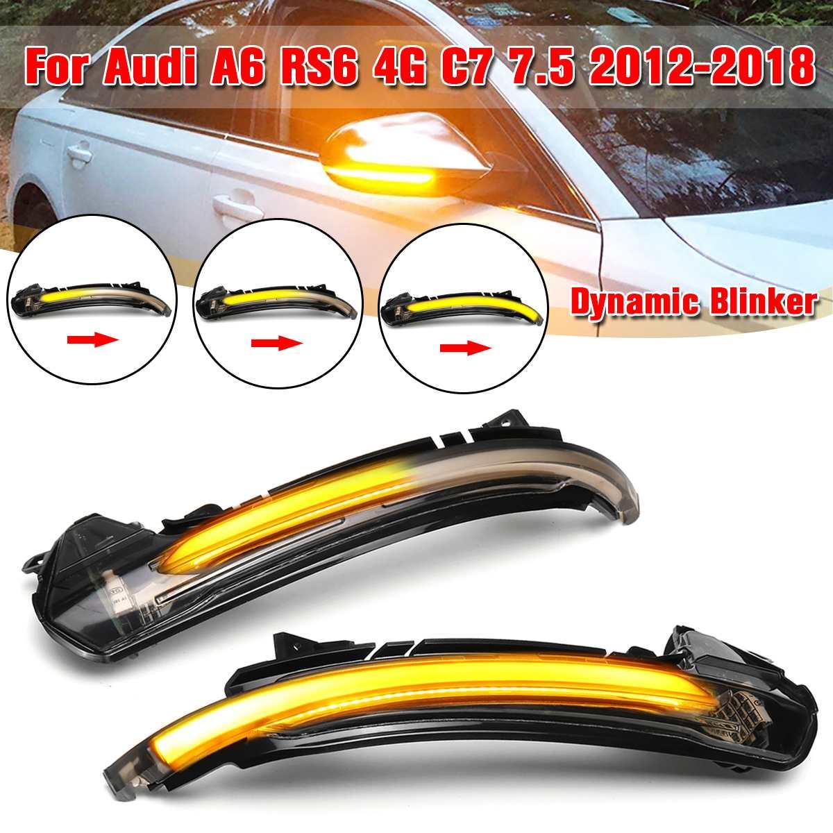 2 pièces Voiture Côté Miroir Dynamique Clignotant indicateur LED Clignotant pour Audi A6 RS6 4G C7 7.5 2012 2013 2014 2015 2016 2017 2018