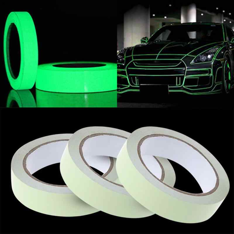 10mmx3m Car Exterior Stickers Reflective Tape DIY Light Luminous Warning Car Safety Stickers Glow Dark Night Tapes