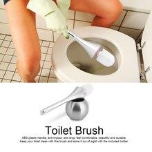 Bathroom Toilet Scrub Cleaning Brush Holder Set w/ Stainless Steel Base Washroom Tool