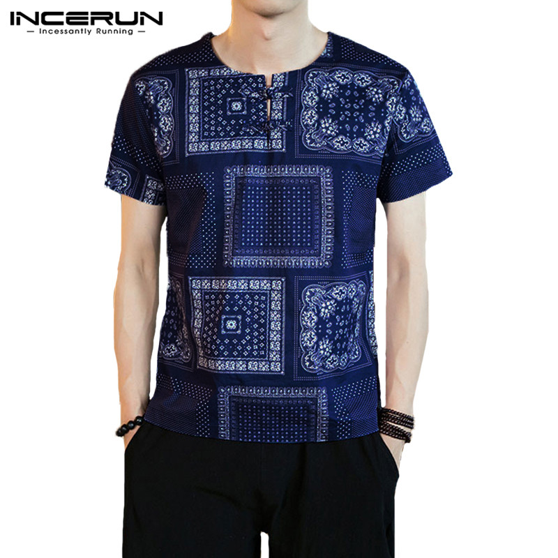 Chinese Style T Shirt Men Summer Ethnic Style Printed Short Sleeve Tee Shirt 2019 O-neck Button Casual Men T-shirt S-5XL INCERUN