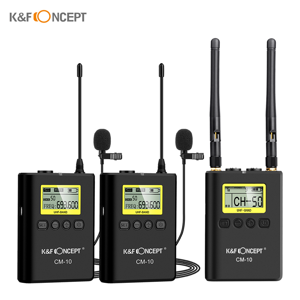 K F CONCEPT Professional Wireless Video Recording Lavalier Lapel Microphone Mic System for Canon Nikon Sony