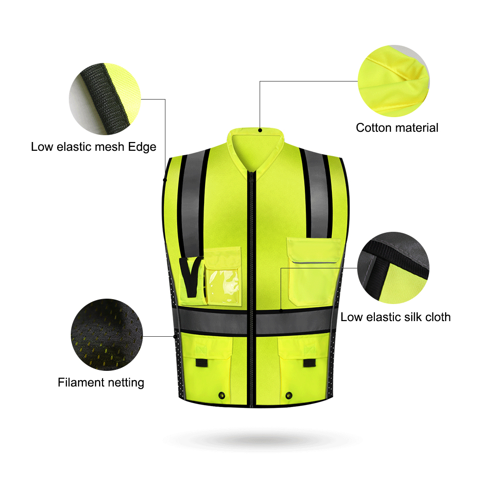 Image 3 - SFVest High Visibility Reflective Safety Vest Reflective Vest Multi Pockets Workwear Security Working Clothes Safety WaistcoatSafety Clothing   -