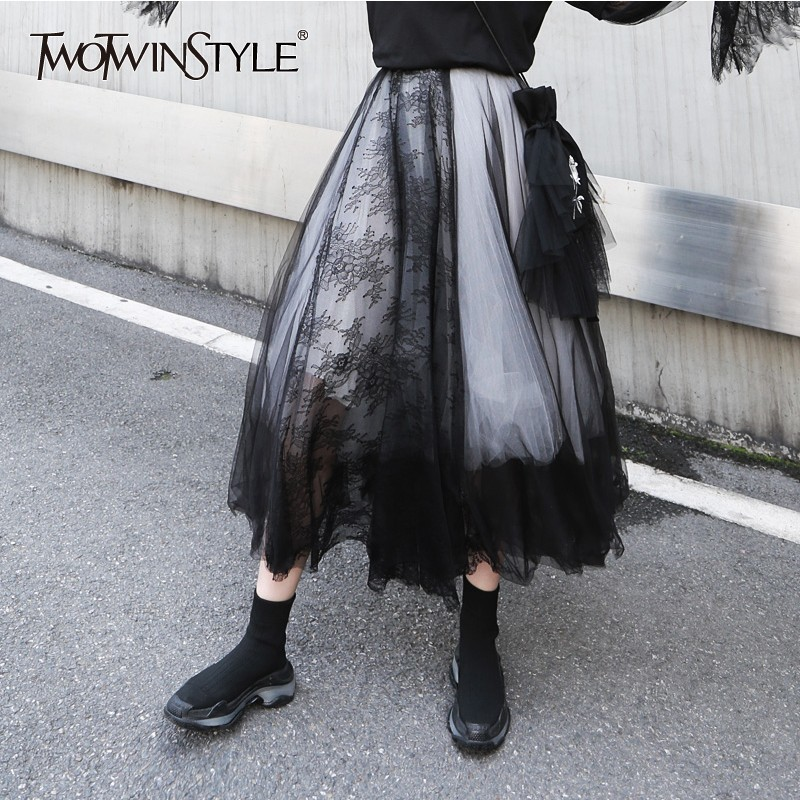 TWOTWINSTYLE Mesh Lace Patchwork Women Skirt High Waist Print Black Female skirts Elegant 2019 Spring Fashion