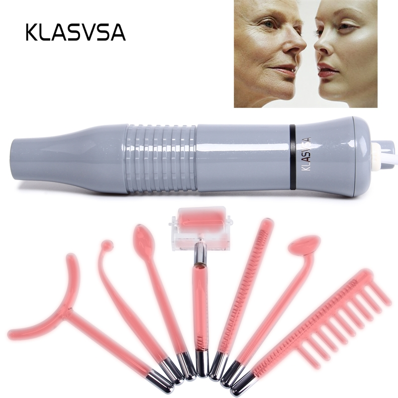 KLASVSA Dardonval High Frequency Therapy 7 Wands Tube Massager Facial Hair Sticker Device Chromotherapy Skin Care Neon Gas Relax